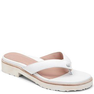 Taryn Rose Taziana Thong Sandals In White Leather